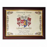 Coat of Arms A4 WEDDING Combined Crests Personalised Framed Print ref FCCWBF